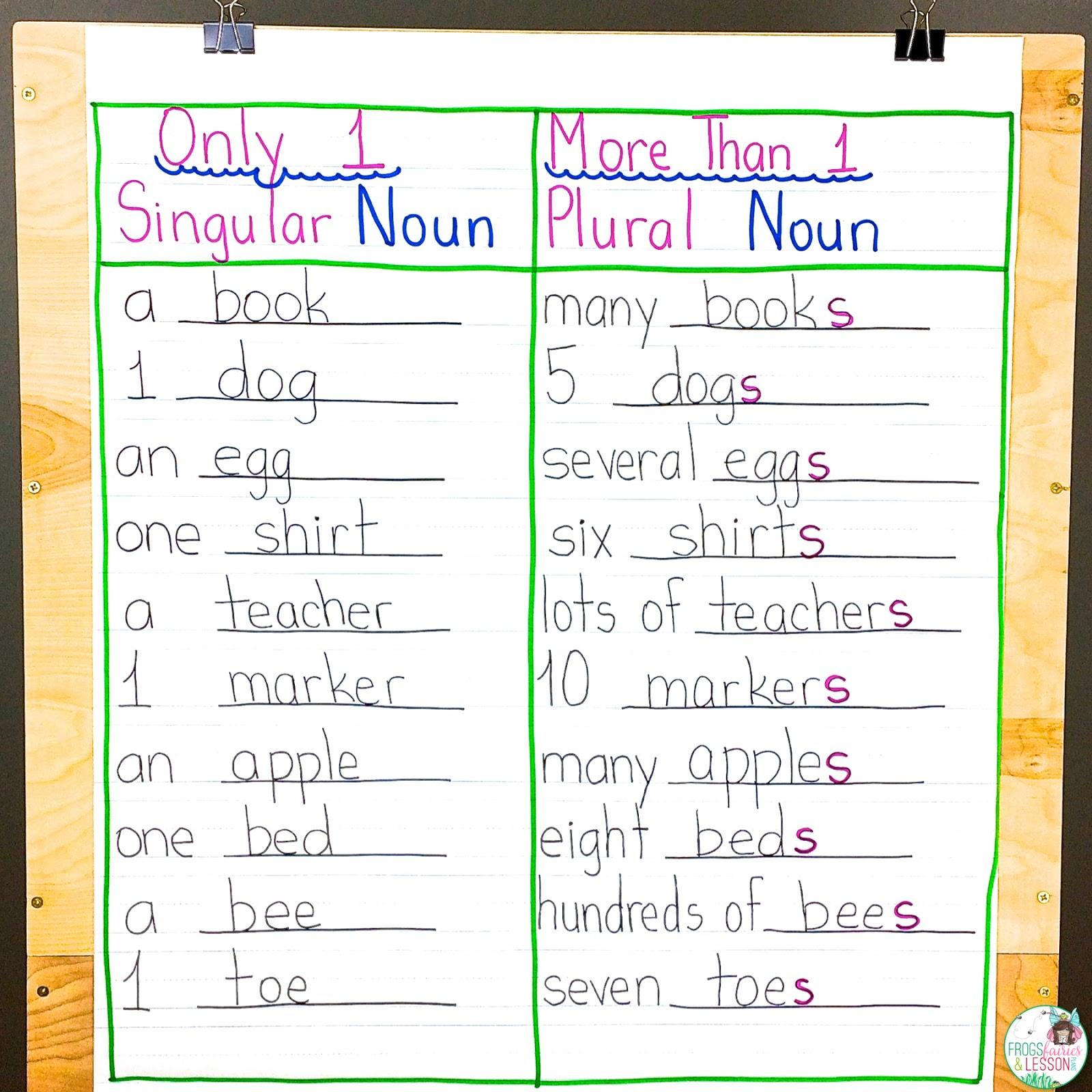 Singular and Plural Nouns Anchor Chart