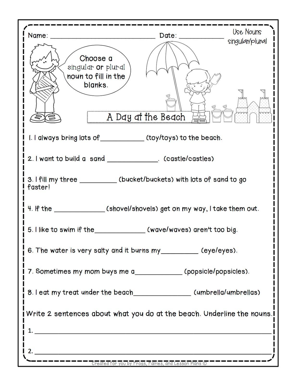 Singular or Plural Nouns Worksheet