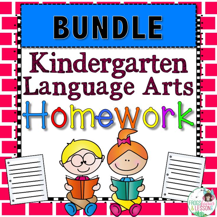Kindergarten Grade Language Arts Spiral Review and Homework