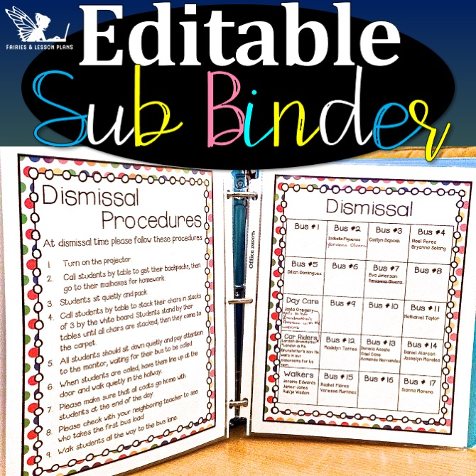 Substitute binders for the first week of school.