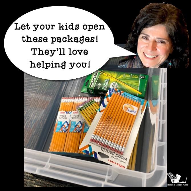 Organizing school supplies